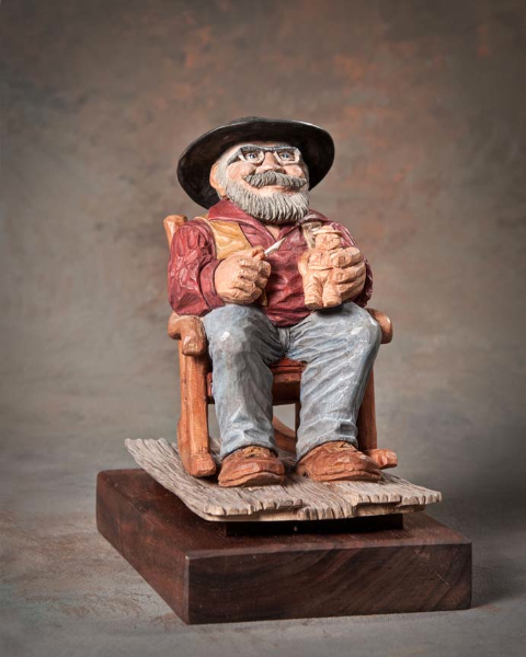 "Single Human Under 10in 4th Place - ""Tom Wolf Carves Tom Wolf"" by Vern Parrish, Charlotte NC"