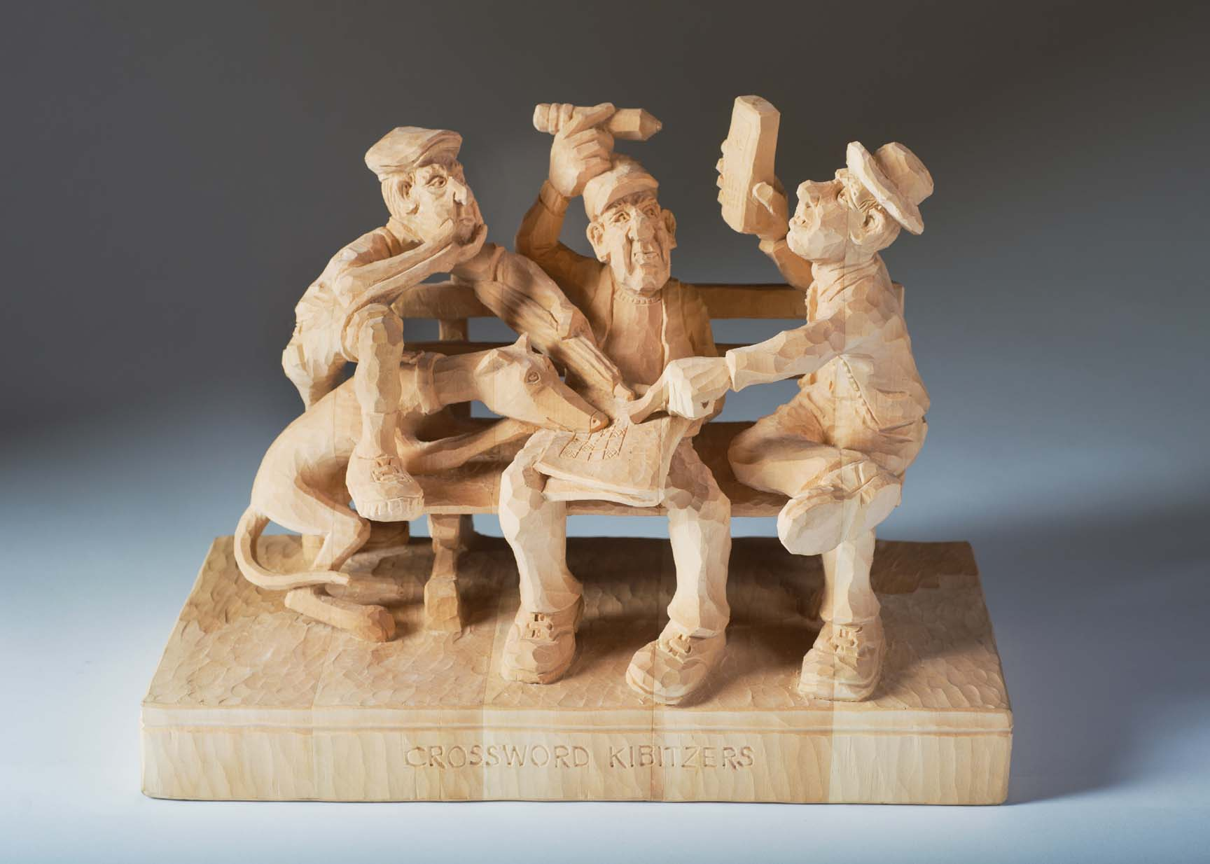 Golfer caricature carving hand carved wood sculpture of a classic